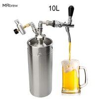 Home Brewing Mini 10L Beer Keg Pressurized Growler for Craft Beer Dispenser System CO2 Adjustable