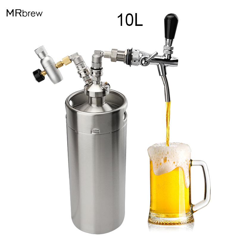 Home Brewing Mini 10L Beer Keg Pressurized Growler for Craft Beer Dispenser System CO2 Adjustable image
