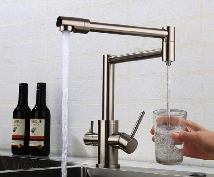 Filtre cuisine robinet eau potable monotrou noir chaud et froid eau Pure éviers pont monté mélangeur robinet DR89