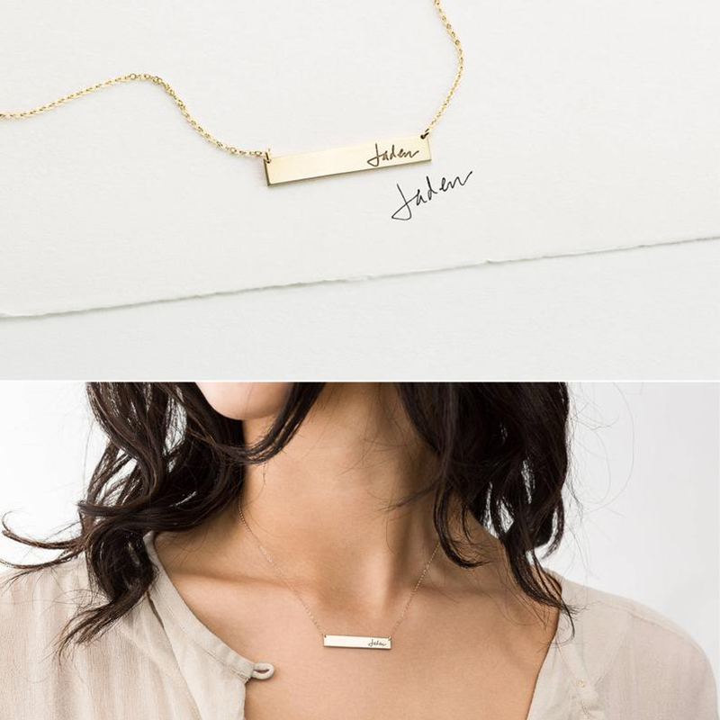 Actual Handwriting Bar Necklace Custom Signature Gold Chocker Handmade Letter Jewelry Pendants Boho Kolye Necklace for Women in Necklaces from Jewelry Accessories