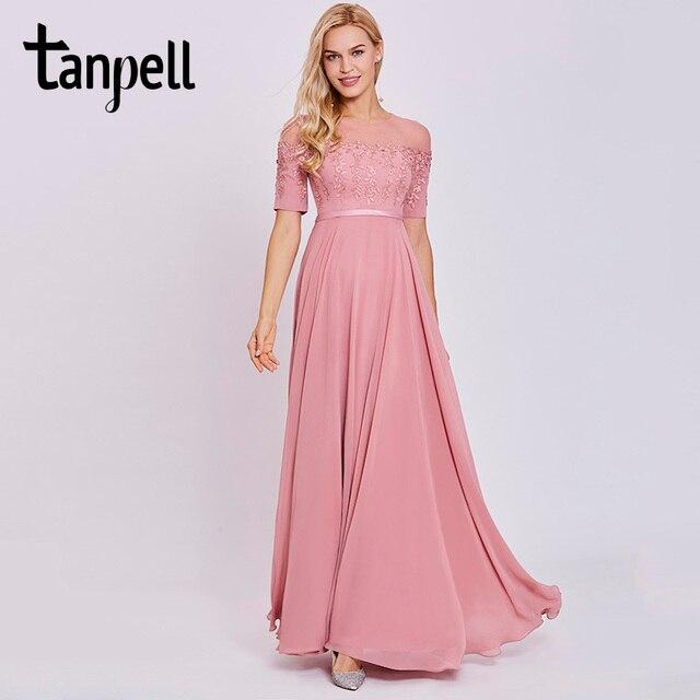 a985d55f78d6 Aliexpress.com: Comprar Tanpell Scoop Neck vestido de noche melocotón manga  corta longitud del piso una línea vestido mujeres apliques baile vestidos  ...
