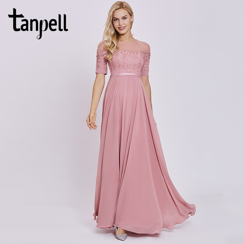 Tanpell scoop neck evening dress peach short sleeves floor length a line gown women appliques prom long formal evening dresses