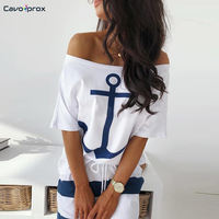Women Two Piece Sets Boat Anchor Print T Shirt & Striped Skirt Sets Casual Striped Ankle Length Fashion Street Wear Maxi Skirts
