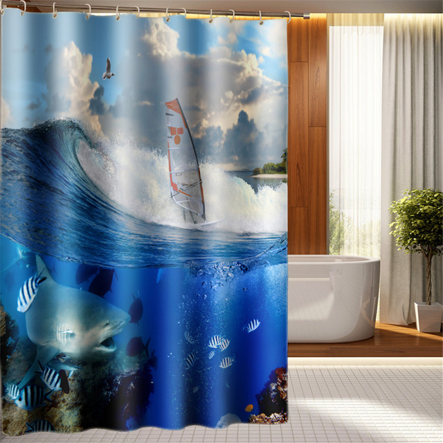Oecan Shark Design Boys Bathroom Shower Curtain Waterproof Blue Sea Kids Fashion Bedroom