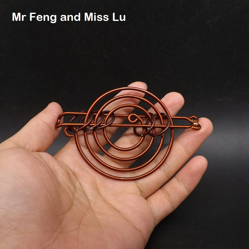 Funny Galaxy Shape Hand Made Collection Red Copper Classic IQ Game Brain Teaser Wire Ring Puzzle