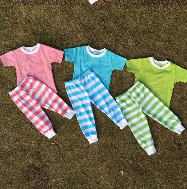 Wholesale baby girl and boy Easter day pajamas sets child benifun kids wear firm boutique easter stripe pajamas image