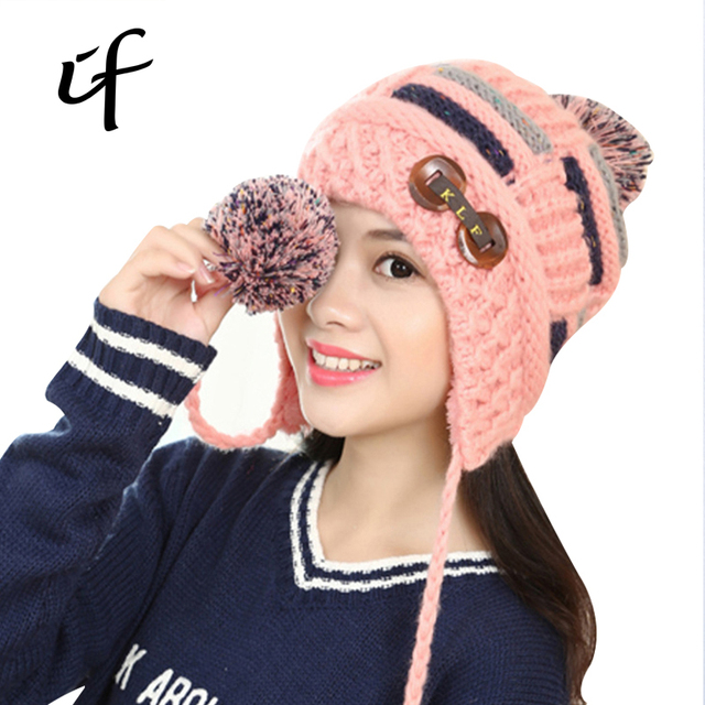 Double Button Double Ball Plus Velvet Thicken Women's Warm Winter Autumn Knitted Female Hat For Women Girls knit Hats Beanie Cap