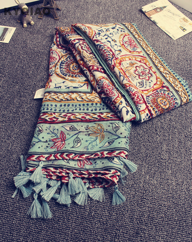 KYQIAO Head scarf 2017 New women girls spring autumn designer long bohemian ethnic soft print scarf tassels wrap shawl stole