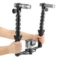Камера Ручной Стабилизатор Стрельба комплект с Дайвинг Фонари для GoPro 4 5 3 SJCAM SJ4000 Xiaomi Yi 4 К Экен h9