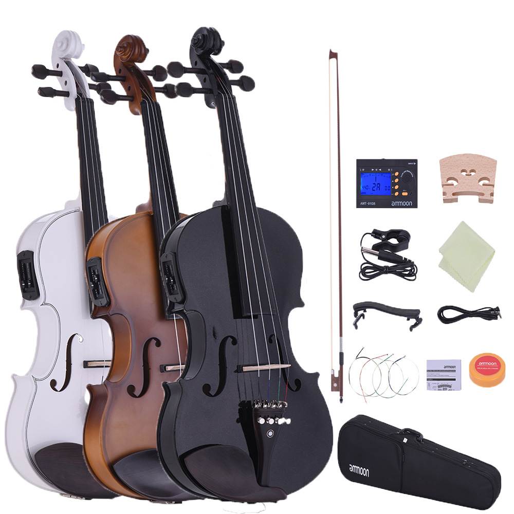 hot sale ammoon full size 4 4 acoustic electric violin fiddle solid wood body ebony fingerboard. Black Bedroom Furniture Sets. Home Design Ideas
