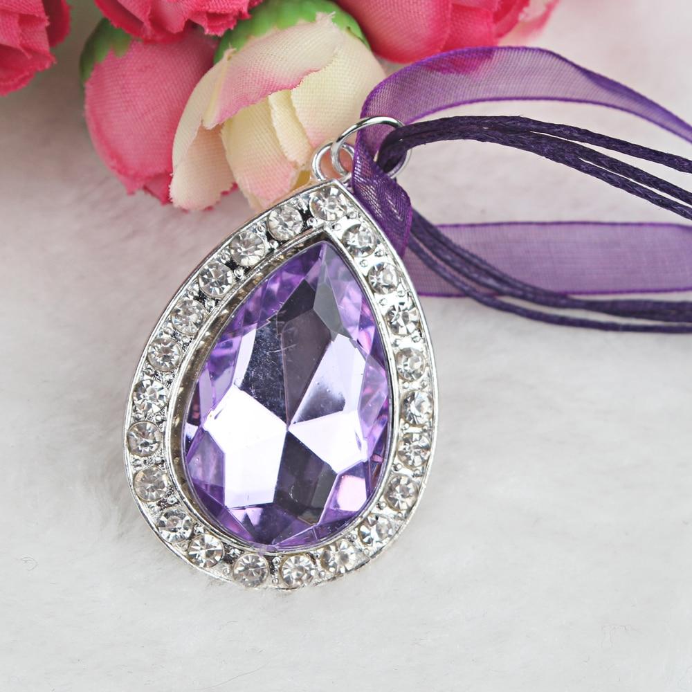 1PC princezna smíšené barvy hedvábná stuha fialová voda kapka krystal drahokamu přívěsek Sofia amulet náhrdelník