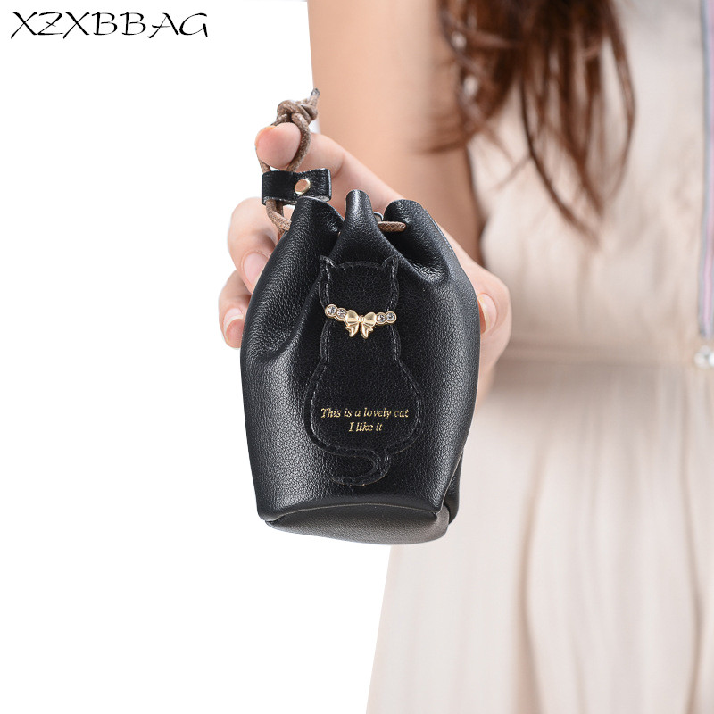 XZXBBAG Cute Cat PU Leather Coin Purse Women  Round Bucket String Small Wallet Female Change Purse Money Bag Girl Zero Wallet women cute cat wallet small zipper girl wallet brand designed pu leather women coin purse female card holder wallet