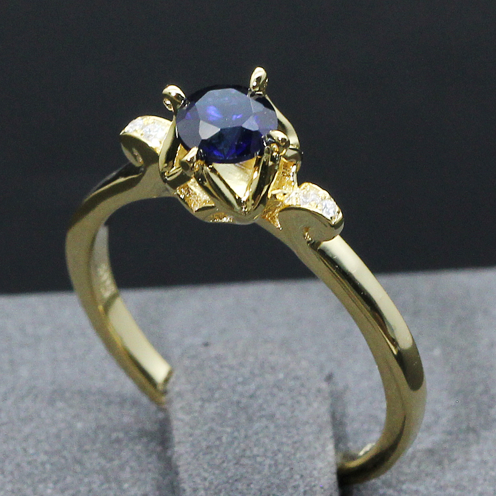 yellow shipping itm gold diamond blue fast size engagement worldwide sapphire ring cushion cut