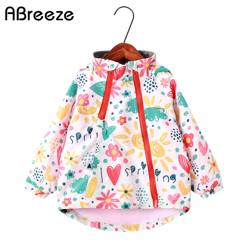 2019 New Spring Autumn Children Top Clothes 2-9Y Girls Hooded Jackets Fashion Animal Floral Print Outerwear Coats For Girls