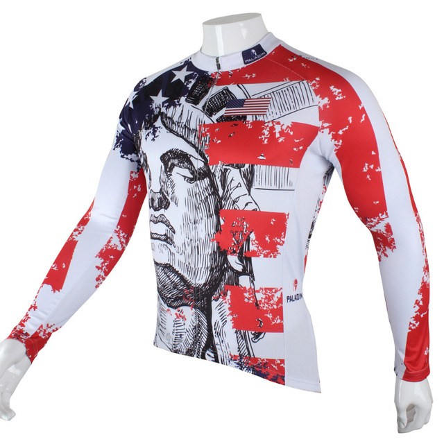 United States Liberty Men Long sleeve Cycling Jersey Polyester Bicycle ClothesRed Breathable Cycling Clothing Size S-6XL