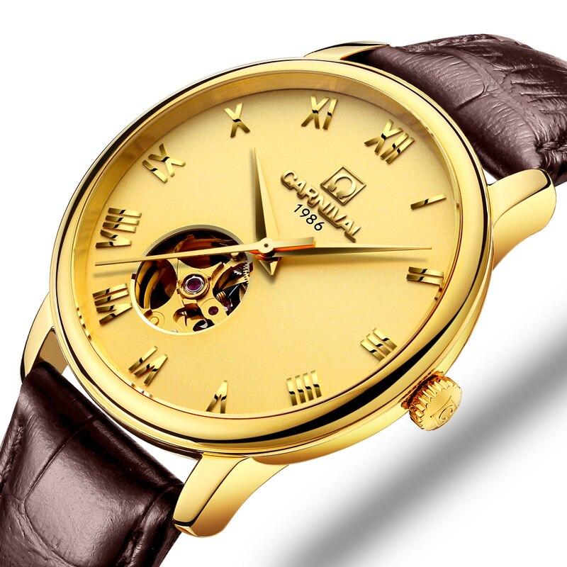 Suisse Carnaval Montre Hommes JAPON MIYOTA Automatique Mécanique Marque De Luxe Hommes Montres Saphir reloj hombre Horloge C50801-4