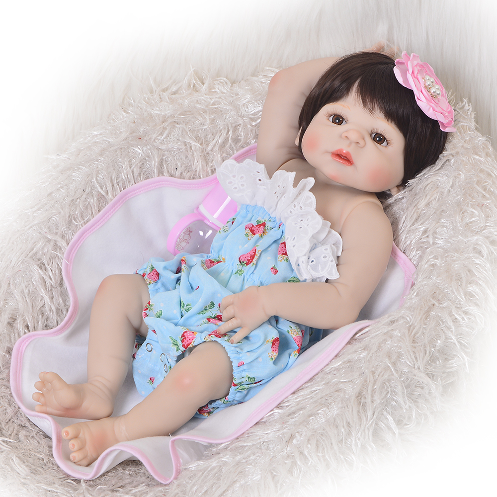 Collection 23 Inch Full Silicone Vinyl Reborn Baby Dolls Girl Toy Realistic Newborn Baby Fashion Princess bebe Doll Toys цена