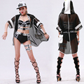2016 casual outerwear Jazz Loose Black Hooded Hoodies costume dance hip hop see-through Sexy Hollow out Long patchwork jacket