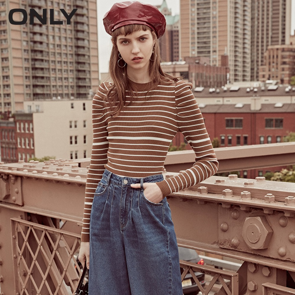 ONLY Women's Autumn New Puff Sleeve Simple Slim Sweater | 118324539