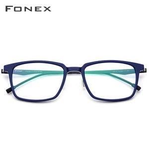 Image 2 - FONEX lunettes optiques en acétate pour hommes, monture de Prescription carrée, 2019, verres de Commerce, verres pour myopie, sans vis