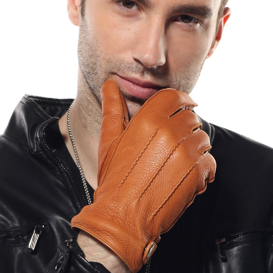 Men Genuine Leather 2018 New Rushed Gloves Luxury Deerskin Glove High Quality Wrist Driving Winter Cashmere