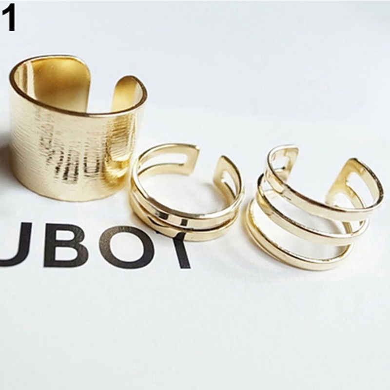 Fashion Star Style Multi-Layer Smooth Wide Open Rings Silver  Golden Midi Rings For  Women