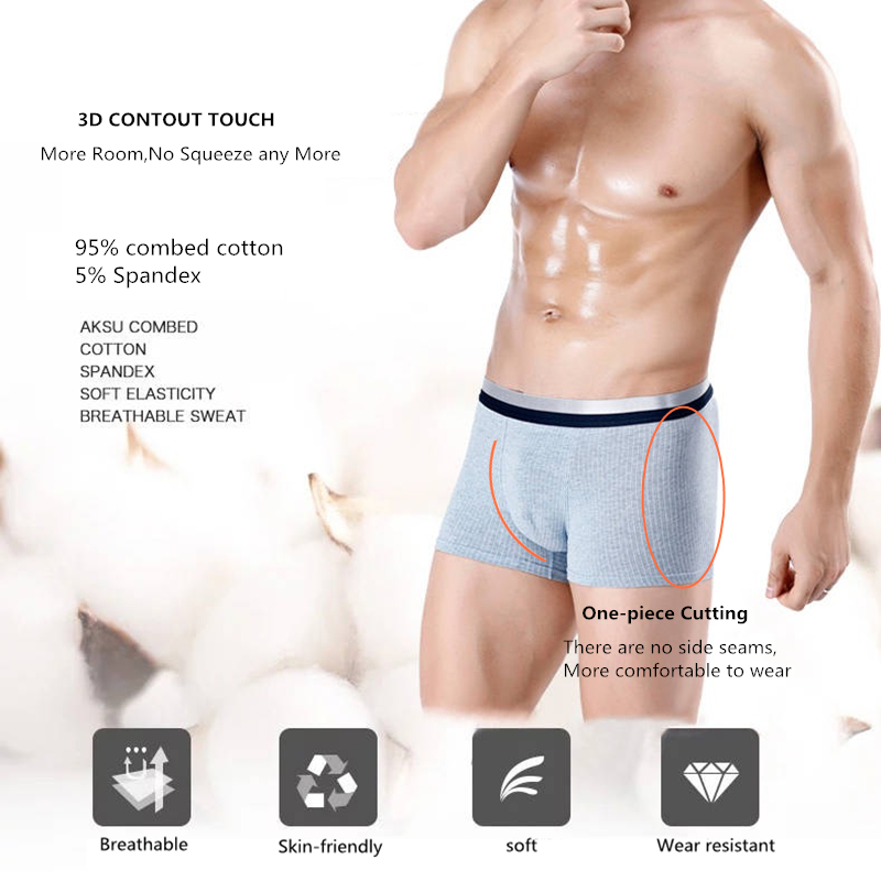 Image 3 - 2019 underwear men new combed cotton 4Pcslot underwear boxer  without side seams soft breathable elasticity boxer men shorts-in Boxers from Underwear & Sleepwears