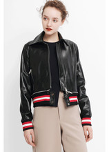 New arrival 2019 spring autumn sheepskin biker jackets Fashion womens real leather coat A385