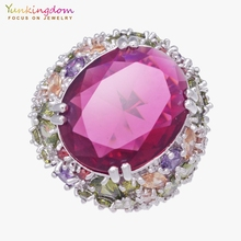 Yunkingdom 31MM Big Cubic Zirconia Fine Rings For Women Ladies Colorful Crystal Wedding Party Jewelry