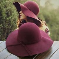 2017 New Pillbox Hat Women S Wide Brim Felt Bowler Fedora Hat Floppy Sun Bowknot Cloche