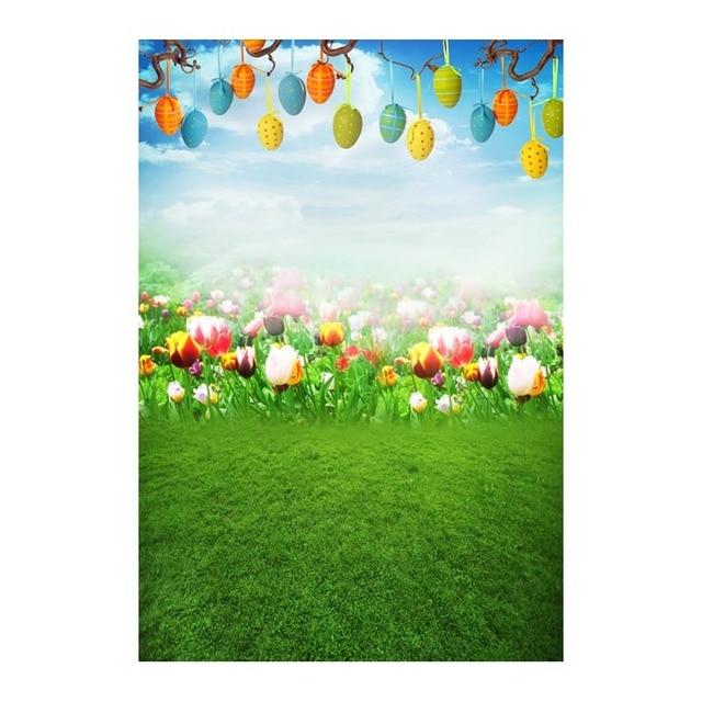 Us 1112 15 Di Sconto5x7ft Tulip Fiori Di Campo Verde Erba Di Pasqua Uova Di Ramo Personalizzato Photo Studio Sfondi Sfondo Banner In Vinile 220