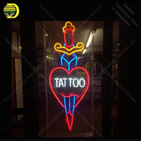 Neon light Signs Tattoo Heart Shape Neon Bulb sign Lamp Handcraft Beer PUB display Custom neon Letrero Neons enseigne lumine