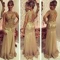 De oro de Oro Vestidos de Noche de La Sirena Piso-Longitud de Encaje de Cuello Alto vestidos de Noche Formales Vestidos abendkleider robe de soirée