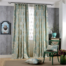 New European Woven Jacquard Curtain Fabric Bedroom Curtains French Window Punching Embroidered Pastoral Floral Cortina