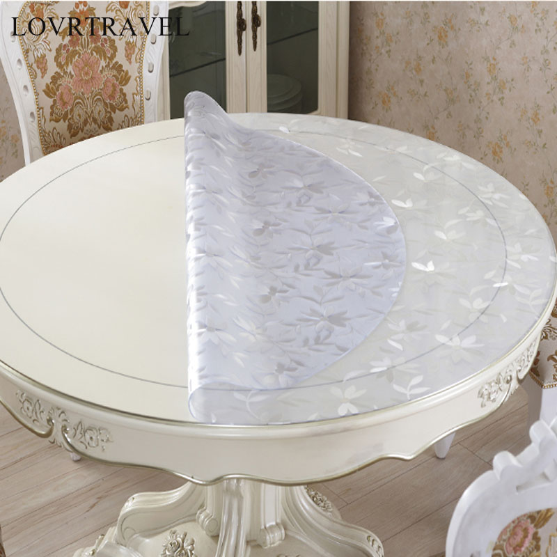 Rodada toalha de mesa toalha de mesa toalha de mesa transparente PVC D à prova d' água com padrão de cozinha óleo toalha de mesa de vidro pano macio 1.0 milímetros