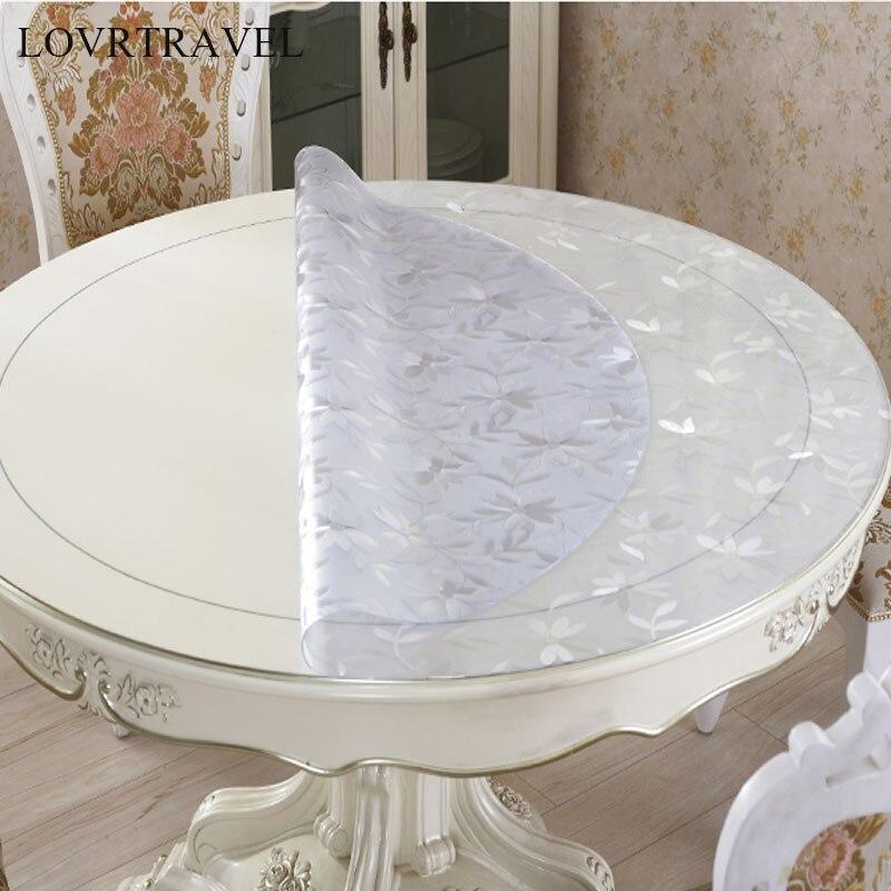 Toalha de mesa redonda pvc transparente d' toalha de mesa impermeável com teste padrão de cozinha toalha de mesa de óleo pano macio de vidro 1.0mm
