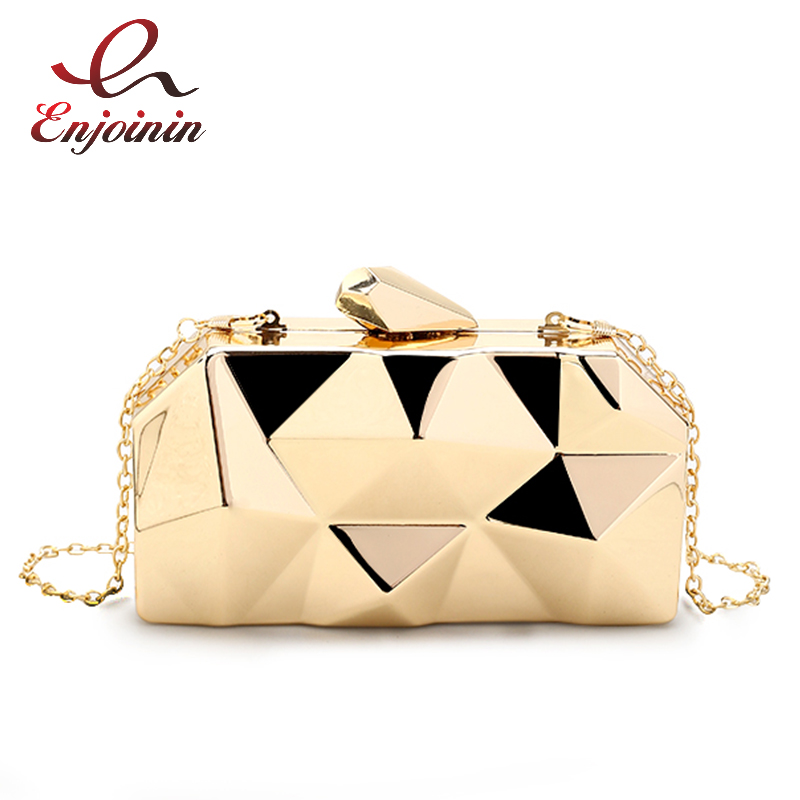 Fashion Handbags Women Metal Clutches Top Quality Hexagon Mini Party Black Evening Purse Silver Bags Gold Box Clutch 3 Colors
