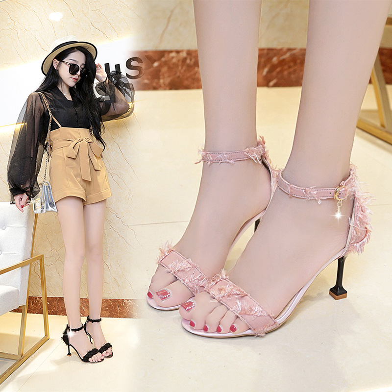Fashion high heels sandals 2019 summer new Korean version of a word buckle wild wine glasses with women 39 s shoes in High Heels from Shoes