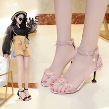 Fashion high heels sandals 2019 summer new Korean version of a word buckle wild wine glasses with women's shoes sandals female summer with wild shoes 2017 new korean version of the slope with high heels thick bottom fish mouth word buckle s