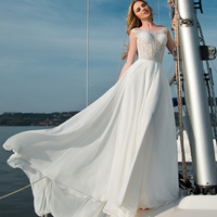 Eightale Beach Wedding Dresses Boho Boat Neck Wedding Gowns Appliques Chiffon A Line Backless Bride Dresses Lace Robe De Mariee