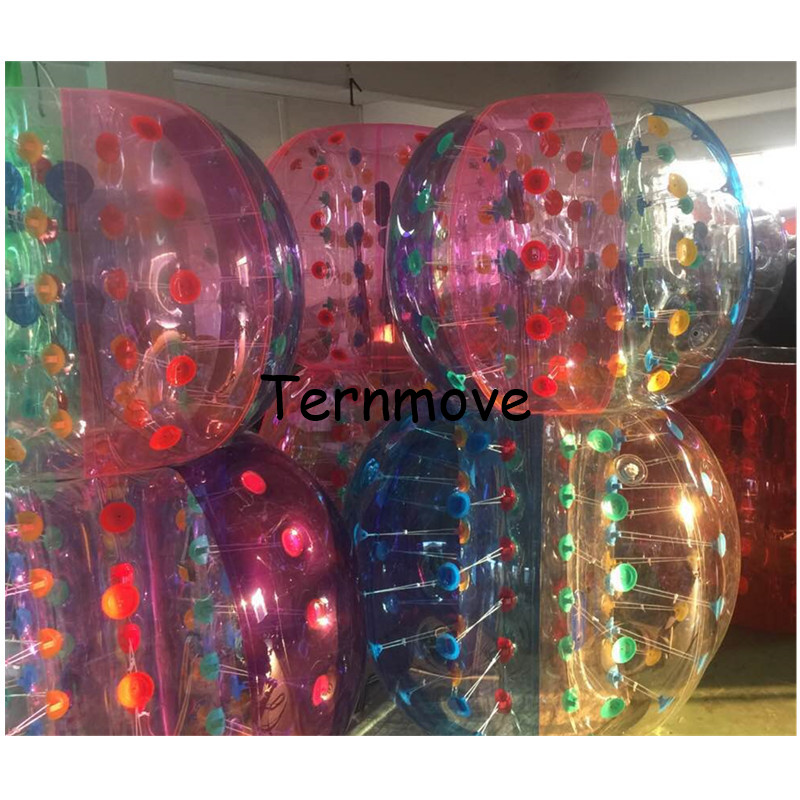 transparent human bumper balls with dot sports toy game ball 0.8mm PVC inflatable bumper giant bubble ball