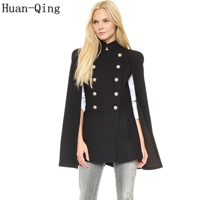 efaec292510 Military Style Autumn Winter Women s Double Breasted Pocket Cloak Coat  Fashion Elegant Blends Shrugged Cape Coats Female Abrigos