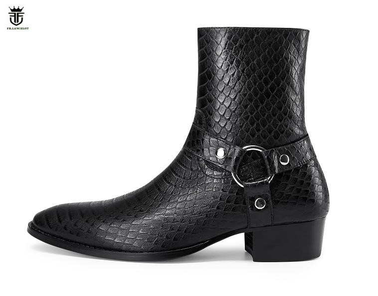 FR.LANCELOT 2019 new Chelsea boots men real leather boots British Style snake print Leather ankle booties high zip up men bootsFR.LANCELOT 2019 new Chelsea boots men real leather boots British Style snake print Leather ankle booties high zip up men boots