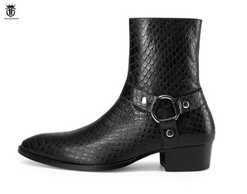 FR.LANCELOT 2020 new Chelsea boots men real leather boots British Style snake print Leather ankle booties high zip up men boots