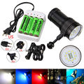 Underwater 100m 10X XML2+4xRed+4xBlue LED Photography Video Dive Flashlight Lamp