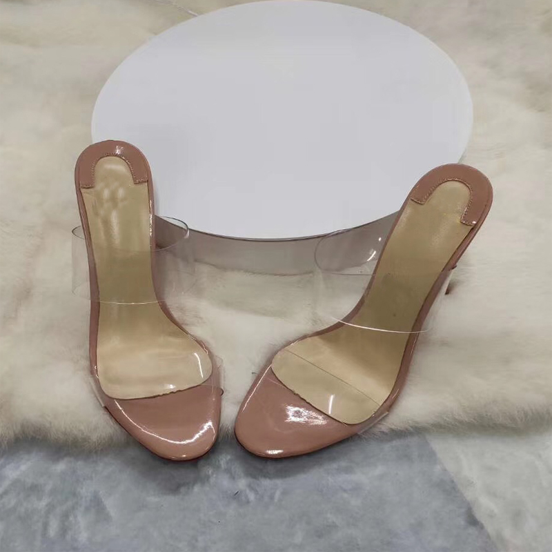 Size 34 45 Transparent PVC Width Strap Women Slippers Summer Beach Stilettos High Heels Sliders Shoes in Slippers from Shoes