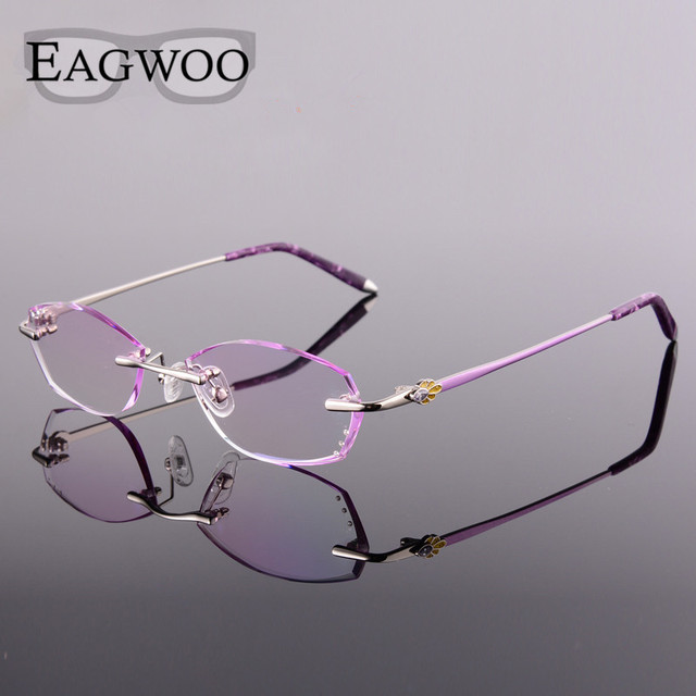 Metal Alloy Acetate Eyeglasses Women Rimless Prescription Reading Myopia Photochromic Glasses Spectacle with Color lenses 258058
