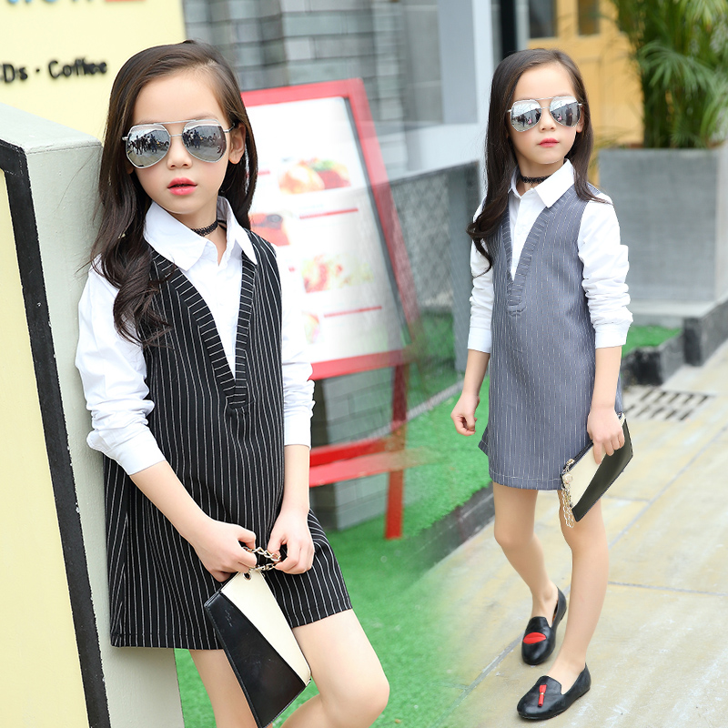 Подробнее о Girls Dresses Summer 2017 Black Gray Striped Dress Baby Kids Princess Costumes Girls Dress for Teens Kids Clothes 10 12 14 Years baby girls dresses brand princess dress girl clothes kids dresses children costumes 3 14 years old
