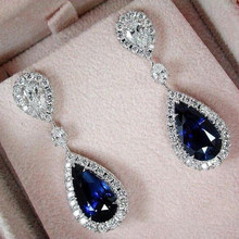 (Free Shipping) Blue Crystal Pendant Earrings Women's Jewelry 2018 New Popular Ear Stud Accessories(China)