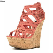 Platform-Sandals Wedges Open-Toe Orange High-Heel Plus-Size Women Party-Shoes Olomm Beige
